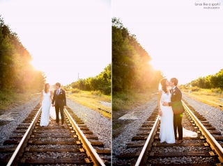 Wedding photos on train tracks. Rustic, modern wedding at 550 Trackside Wedding