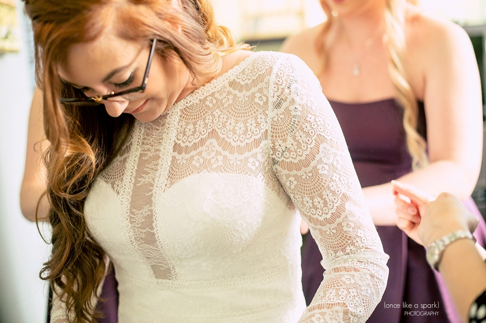 Long sleeve, lace wedding dress.
