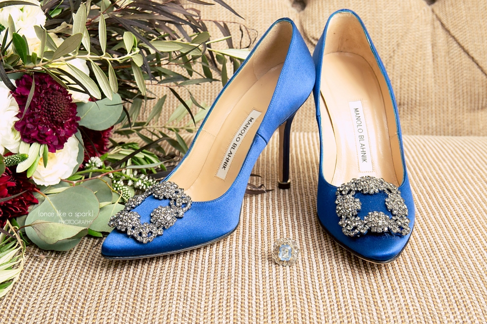 Blue Manolo Blahnik shoes from Sex & the City wedding.
