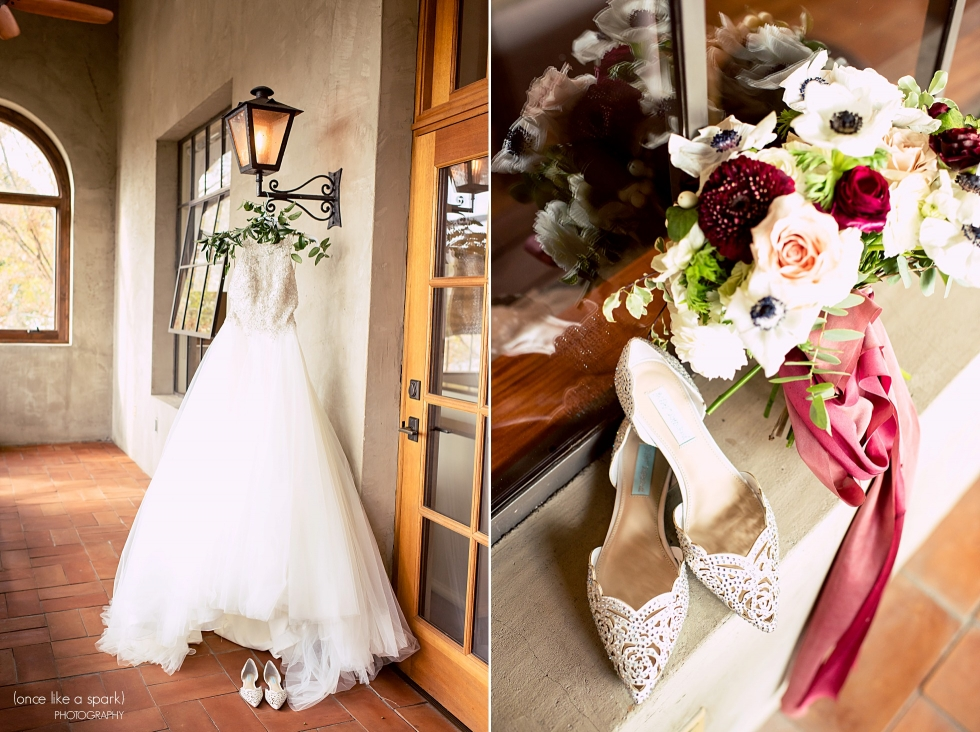 Summerour Studio Wedding - Bridal bouquet, wine-colored with anemones, mums, and roses. Flat bridal shoes.
