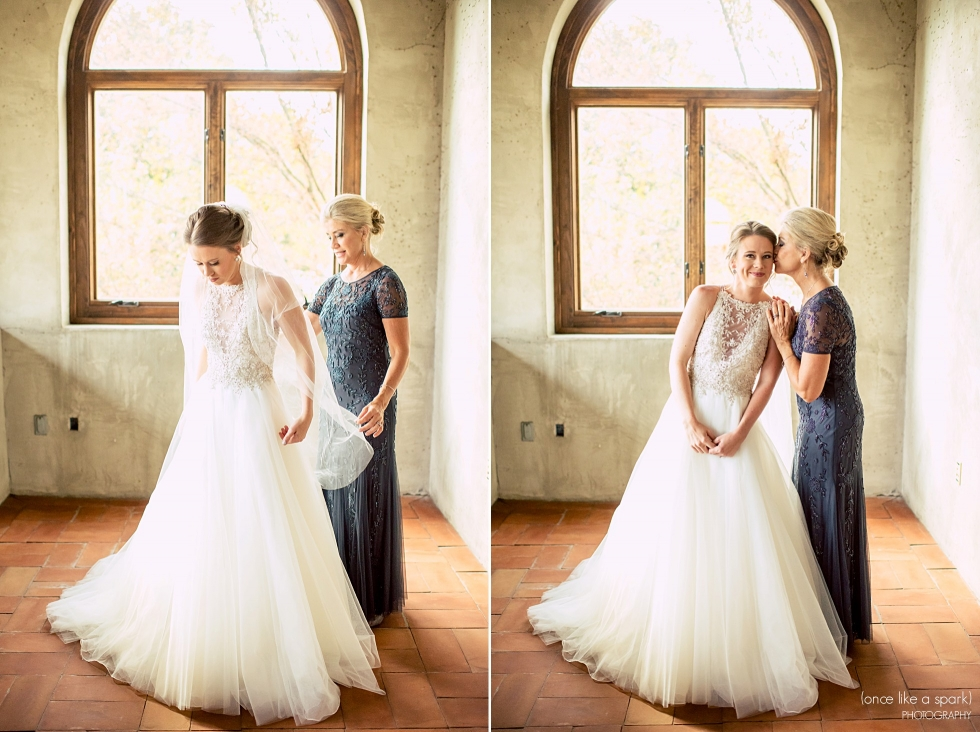 Photos of mom helping bride get ready. Summerour Studio Wedding in Atlanta.