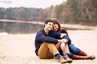 Waldon Pond Engagement Shoot with Massachusetts Wedding Photographer.