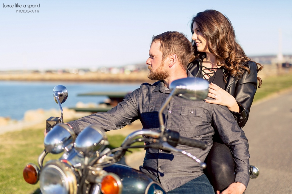 Engagement session with motorcyle in Plymouth, MA.